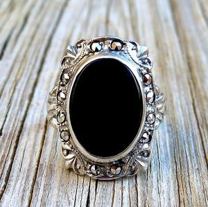 Art Deco 1930s 925 Natural Onyx & Marcasite Ring